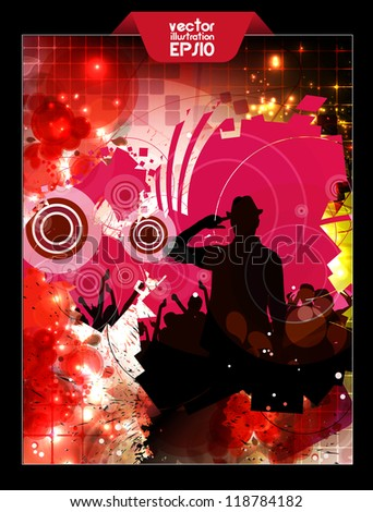 Party dance poster design - stock vector