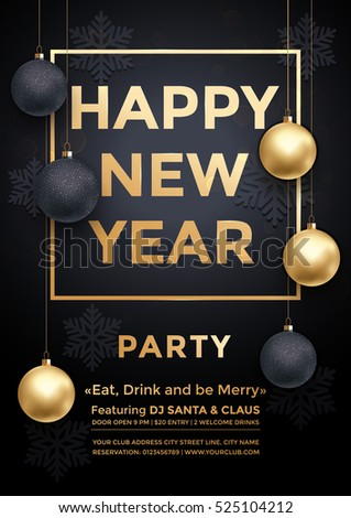 Party December New Year winter holiday club invitation poster. Premium calligraphy lettering with gold ornament decoration of golden ball and gold snowflake on luxury black background