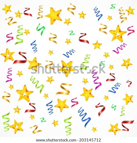 Party decorations background with stars and serpentine, vector illustration - stock vector