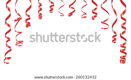 Party decorations red streamers or curling party ribbons in the form of an archbanner - stock vector