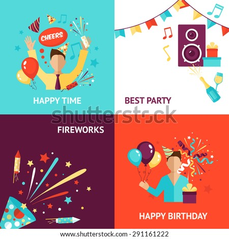 Party design concept set with birthday fireworks flat icons isolated vector illustration - stock vector