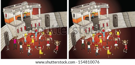 Party Differences Visual Game. Task: find 10 differences! Solution in hidden layer (vector file only). Illustration is in eps8 vector mode! - stock vector