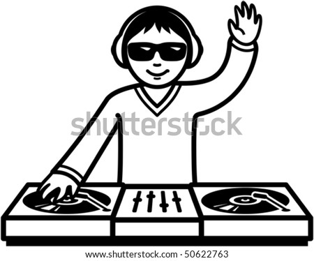 Party DJ at turntable illustration - stock vector