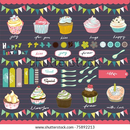 party elements best for scrapbook or card cover - stock vector