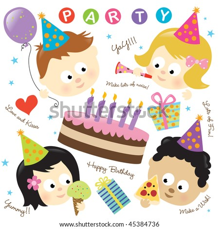 Party elements with kids - stock vector