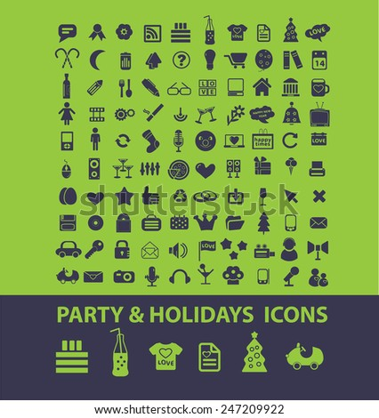 party, event, holidays, dj, celebration, family icons, signs, illustrations set, vector - stock vector
