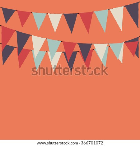 Party flags. Party orange background with flags. Vector background. - stock vector