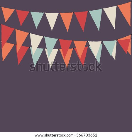 Party flags. Party purple background with flags. Vector background. - stock vector