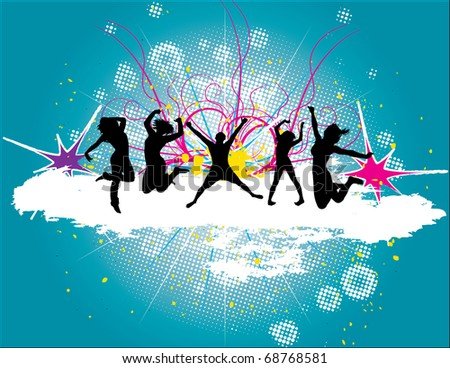 Party Flyer background Illustration vector Disco Dance Card - stock vector