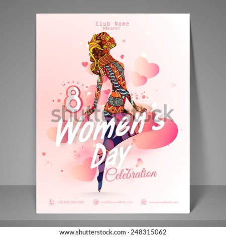 Party flyer, banner or template with young girl for International Women's Day celebration.  - stock vector