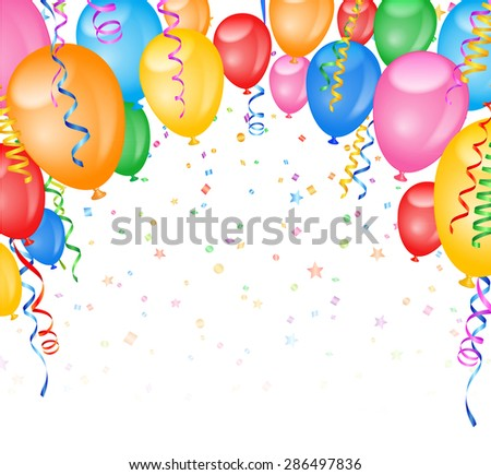 Party Frame with balloons and confetti - stock vector