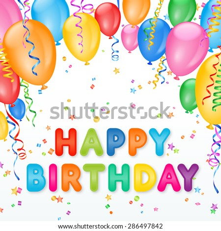 Party Frame with balloons and confetti and happy birthday text - stock vector