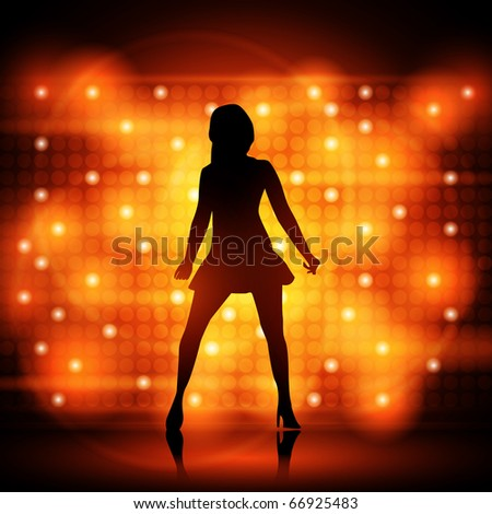 Party Girl Dancer - Colorful EPS10 Design - Dancing Young Sexy Women - stock vector