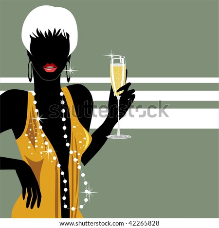 Party girl with champagne - stock vector