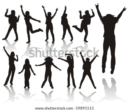 Party girls.Girls jumping. - stock vector