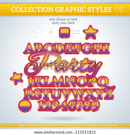 Party Graphic Styles for Design. Graphic styles can be use for decor, text, title, cards, events, posters, icons, logo and other.