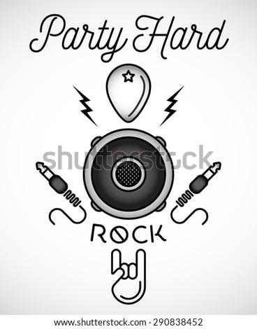 Party Hard. Rock Music Badge - stock vector