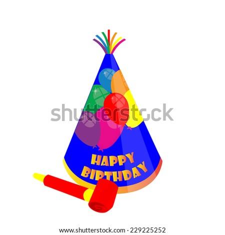 Party hat and noisemaker, birthday hat, party hat, noisemaker - stock vector