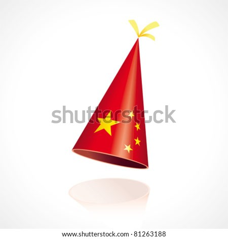 Party hat with the flag of China - stock vector