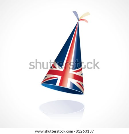 Party hat with the flag of Great Britain - the Union Jack - stock vector