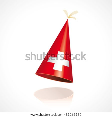 Party hat with the flag of Switzerland - stock vector