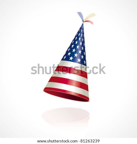 Party hat with the flag of the United States of America - stock vector