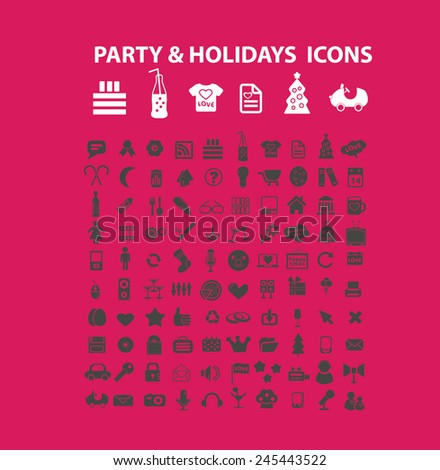 party, holidays, events, birthday, celebration icons, signs, vector illustrations - stock vector