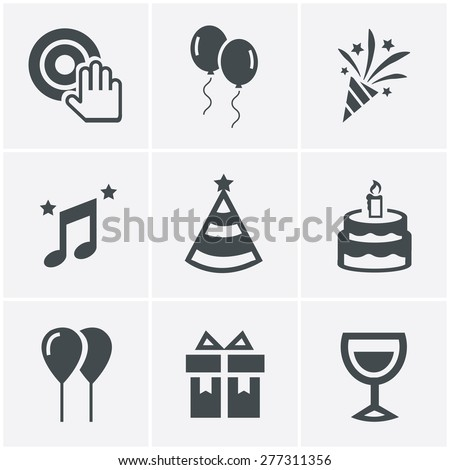 party Icons Set, Vector Design - stock vector