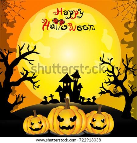Party invitation card halloween theme pumpkins stock vector party invitation card of halloween theme pumpkins black castle dead trees and stopboris Images
