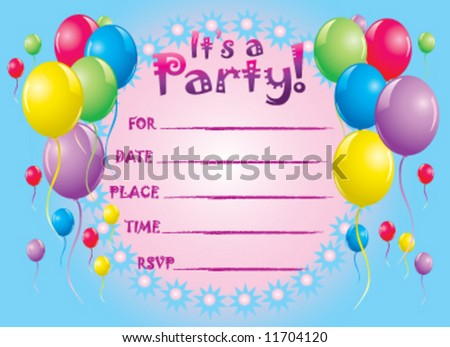 Party invitation greeting card - stock vector