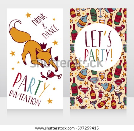 Party Invitation Cute Doodle Fox Drinking Stock Vector 597259415