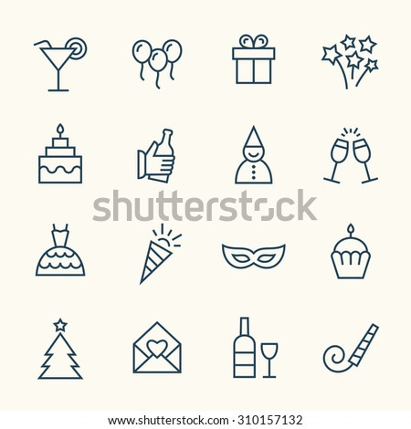 Party line icons - stock vector
