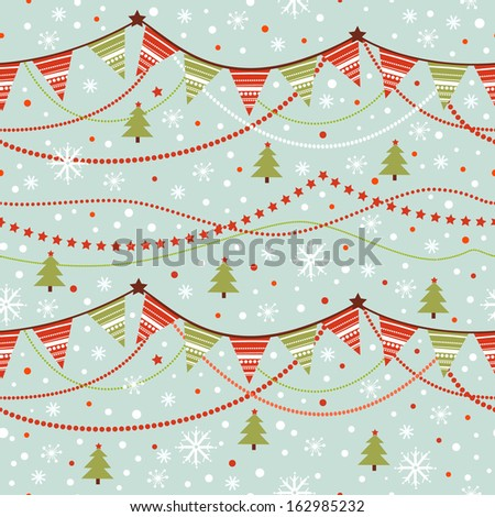 Party pennant bunting. Christmas seamless pattern with garland and snowflakes in cartoon style. - stock vector