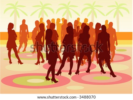 Party people at the open air with silhouettes - stock vector