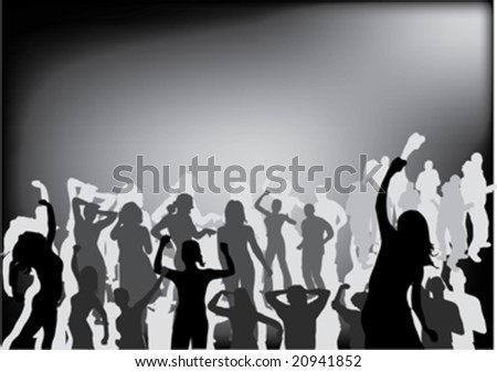 party people black silhouette - stock vector