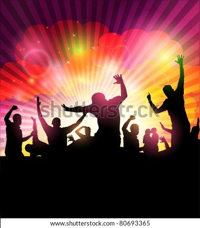 Party People -Concert Crowd - stock vector