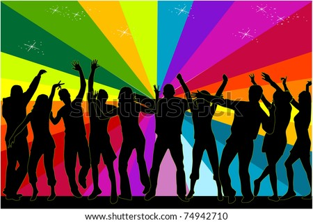 party people dancing in the club - stock vector