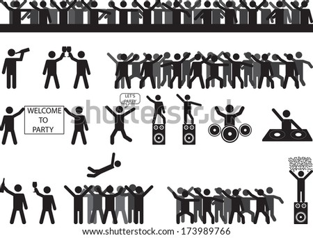 Party people silhouettes illustrated on white - stock vector