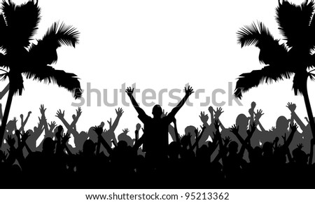 Party People with Palm Trees Silhouettes - Fully editable EPS 10 Vector Format - stock vector