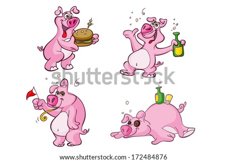 party pig - stock vector