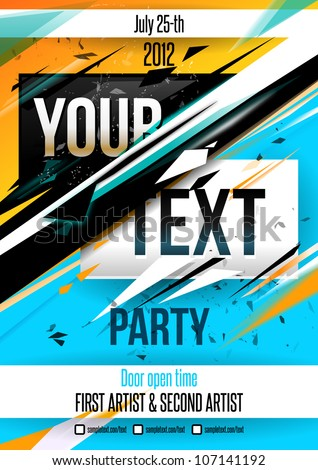 Party poster template. Vector - stock vector
