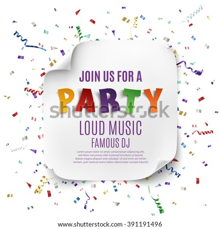 Party poster template with realistic curved banner on celebration background with colorful confetti and ribbons . Vector illustration. - stock vector