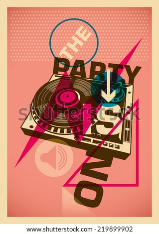 Party poster with abstract design in color. - stock vector