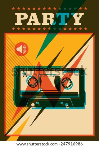 Party poster with compact cassette. Vector illustration. - stock vector