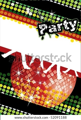 Party poster with disco ball and dot pattern, eps10 vector illustration - stock vector