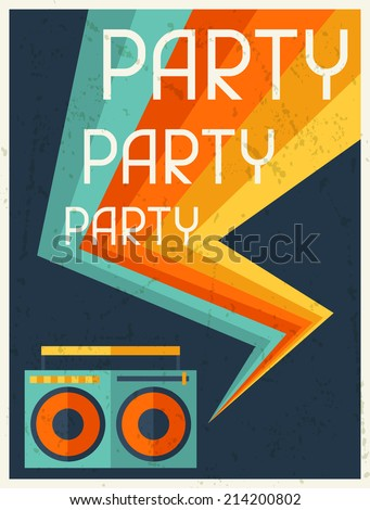 Party retro poster in flat design style. - stock vector