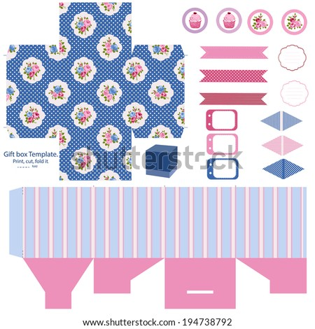 Party set. Gift box template.  Abstract floral shabby chic pattern, classic country roses. Empty labels and cupcake toppers and food tags.  - stock vector