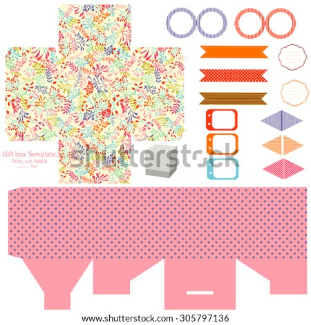 Party set. Gift box template.  Abstract nature pattern, herbs and leaves. Empty labels and cupcake toppers and food tags.  - stock vector