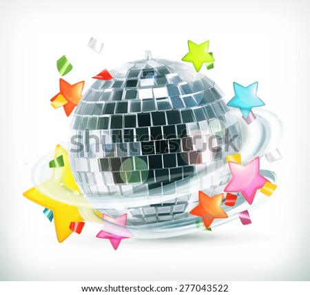 Party, stars and disco ball, vector icons - stock vector