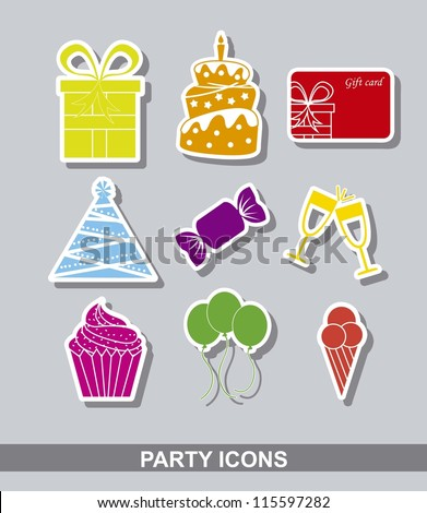 party stickers over gray background. vector illustration - stock vector